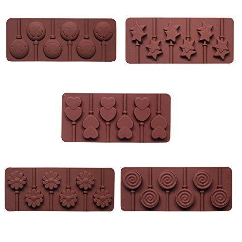 BAKER DEPOT Silicone chocolate Lollipop Mold with 6 Holes, Double Heart, Star, (Small Star Face)