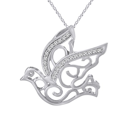 White Dove Necklace - Pretty Jewels Soar Dove Bird Necklace, Delicate 925 Sterling Silver Fill Flying Bird Pendant With Real Diamonds