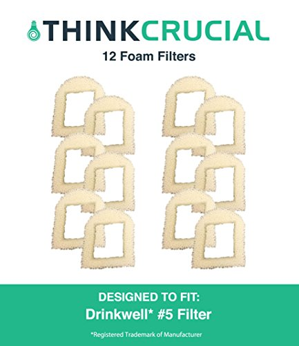12 Replacements for Drinkwell Foam Pre Filters, Fits 360, Lotus, Avalon, Pagoda & Sedona Pet Fountains, by Think Crucial (Drink Well Pagoda)