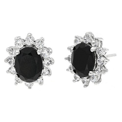 - Lavari - 3.4 Oval Black Onyx and White Sapphire Earrings in 925 Sterling Silver