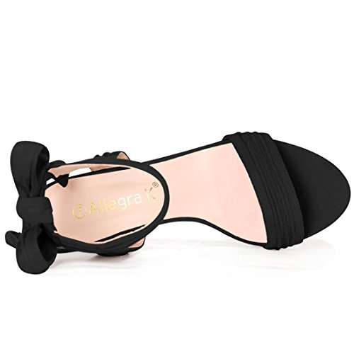 Allegra K Womens Ruched Bow Tie Back Block Ankle Heel Sandal Black kNIBDtIfV