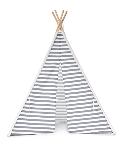 Hot Anne + Camp the Miller Teepee, Kids Play Tent, 100% Natural Cotton Canvas Teepee Tent for Kids with Carrying Bag, Pink (Gray Stripe) supplier