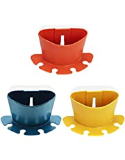 TIE-DailyNec 3 PCS Wall-Mounted Toothbrush Holder, Self-Adhesive No Drill Toothpaste Organizer Holder, Bathroom Shelf Storage Rack Caddy with 4 Toothbrush Slots (Blue, Yellow, Red)