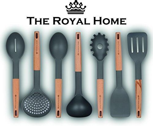 - Kitchen Utensil Set | 7 Piece Wooden Handle Cooking Utensils | Nonstick Kitchen Gadgets | Nylon Kitchen Tool Kit | Pasta Spoon, Slotted Turner, Spoon, Spatula, Strainer, Ladle, Slotted Spoon