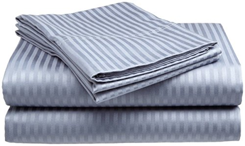 Oversized Sheets California King 100 Percent Egyptian Cotton 4 Piece Luxury Bed Sheets With 22 Inches Deep Pocket Silver Grey Stripe (800 Thread Count)