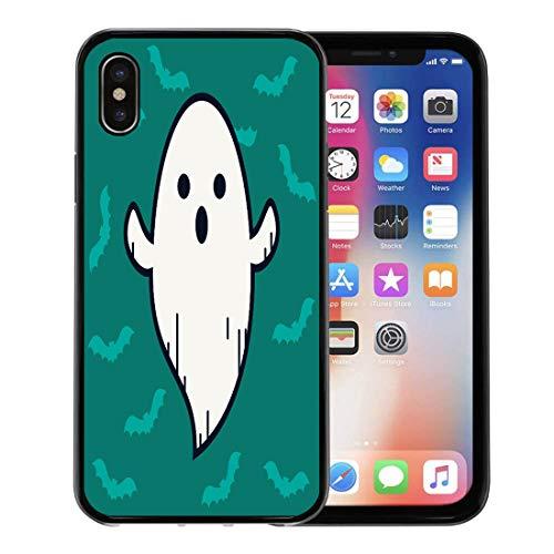 Emvency Phone Case for Apple iPhone Xs Case/iPhone X Case,Badge Ghost Doodle on Blue Line Cute Emoji Symbol Soft Rubber Border Decorative, Black ()