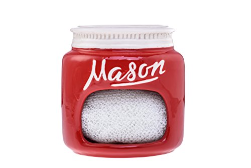 Red Ceramic Mason Jar Kitchen Sponge Holder – Adorable Home Retro & Farmhouse Kitchen Decor | Amazing Rustic Accessory | Vintage Gift for Friends, Family and Collectors by Goodscious