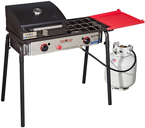 - Camp Chef Big Gas Grill 2X (SPG60B) 2-Burner Stove with Included BBQ Box (BB30L)