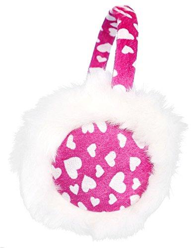 Warm Heart Pattern - Kids Girls Winter Warm Faux Fur Plush Heart Pattern Ear Warmers Earmuffs