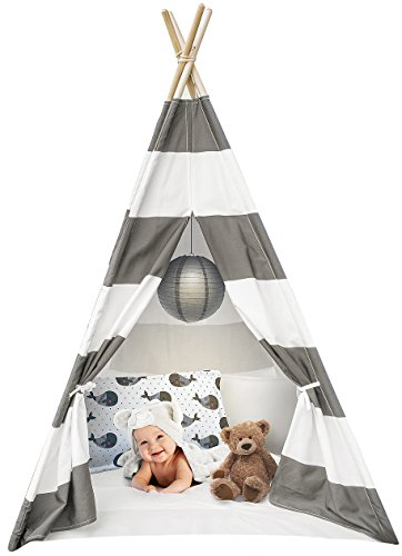 Sorbus Kids Foldable Teepee Play Tent Playhouse Classic Indian Style Play Tent and Carry Bag, Walls with Door, Window and Floor (White and Gray) - Pine Kids Sleeping Bag