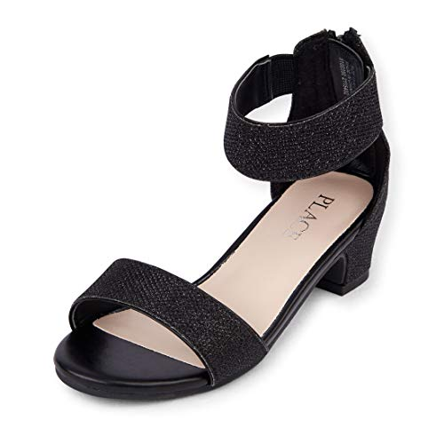The Children's Place Girls' Heel Heeled Sandal, Black, YOUTH 13 Regular US Big Kid (Youth Black Footwear)