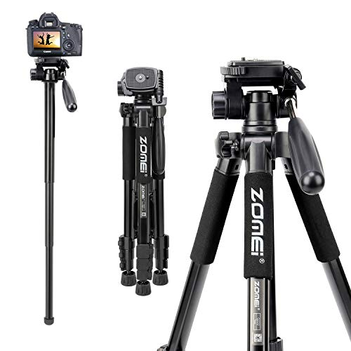 Selfie Tripod,ZOMEI Q222 Lightweight Aluminum Tripod Monopod Portable Travel Camera Stand with 3-Way Pan Head and Carry Bag for Canon Nikon Sony DSLR(Black)