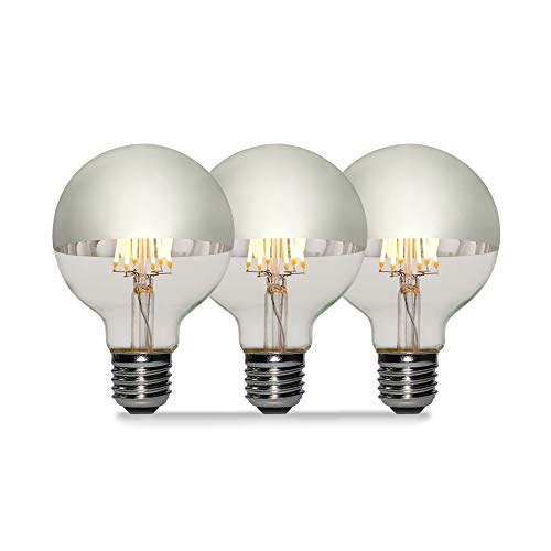 3 Pack - Modvera 60w Equivalent LED Half Chrome G25/G80 6W Silver Bowl Globe Shape Medium (E26) Base Warm White 2700K, 630 Lumens, Dimmable LED Filament Vintage Bulbs.UL Listed RoHS Compliant ()