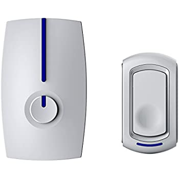 SadoTech Modern Series G Wireless Doorbell Operating at over 500-feet Range with Over 50 Chimes, No Batteries Required for Receiver - White
