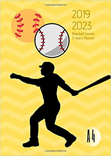 2019-2023 Five Year Planner A4 Baseball Games Goals Monthly ...