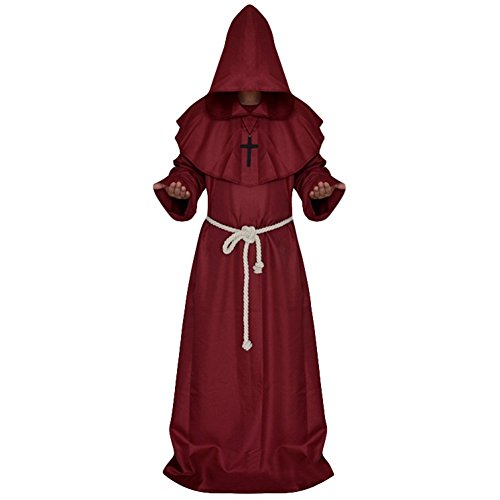 70s Fancy Dress Costumes Ideas (Aquarius CiCi Priest Costume Halloween Cosplay Costume Medieval Monks Robe)