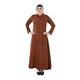 Momin Libas Jahida Shirt Collar Brown Color Islamic Abaya