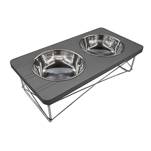 Easyology Pets Stainless Steel Elevated Feeder Bowls | Ergonomic & Antibacterial Feeding Bowls For Cats & Dogs | For Treats, Water, Travel & More (Dark Gray) (Raised Dog Bowls Stainless Steel compare prices)