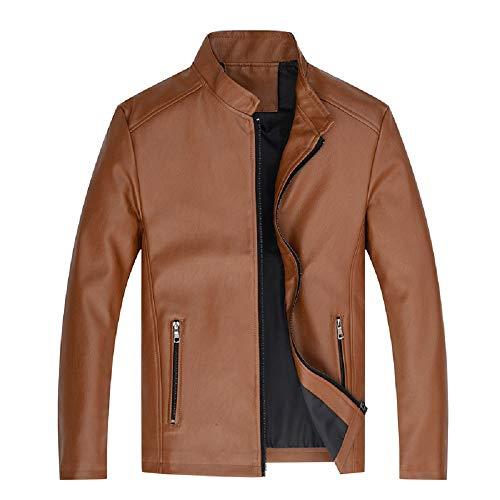 in in in da Marrone Moda Uomo Lunga Pelle Manica Manica Manica Manica Outwear Moto XXL Marrone Colore Dimensione Cappotto Ax5q1wBt
