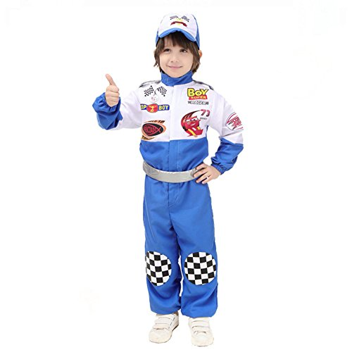 Race Car Driver Costumes Kids (ROMASA Cosplay Children Masquerade Costume Race Car Driver,L(4.4-4.92FT/10-12),Blue)