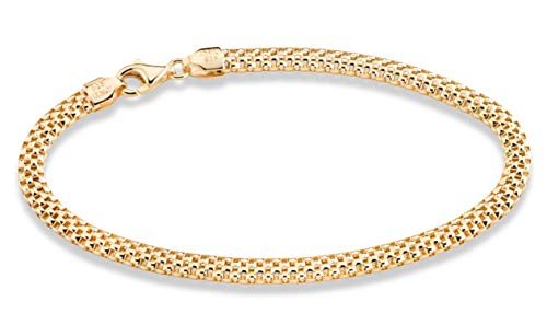 - MiaBella 18K Gold Over Sterling Silver Italian 4mm Mesh Link Chain Bracelet 7