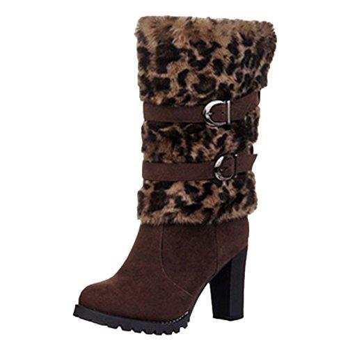 Nonbrand Women's Leopard print winter furry boots block heel shoes Brown hs5dJ0u