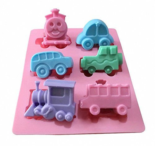 Thomas Candy Cube - Vehicle Ice Cube Mold - MoldFun Train Jeep Bus Cars Silicone Mold Tray for Muffin, Cake, Jello, Candy, Chocolate, Mini Soap, Crayon, Plaster, Polymer Clay