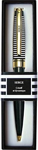 LA CARTERIE Stylo bille r/étractable s/érie Black /& Gold avec message sur clip Serge
