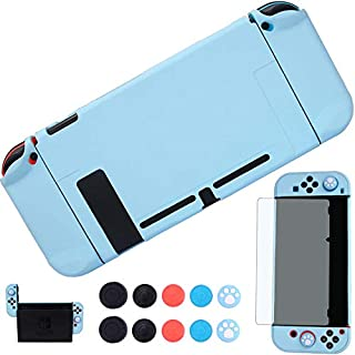 YOOWA 3 in 1 Nintendo Switch Dockable Case - [Newest Version] Protective Cover Case for Nintendo Switch and Joy-Con Controllers w/8 Thumb Grips Caps and Screen Protector