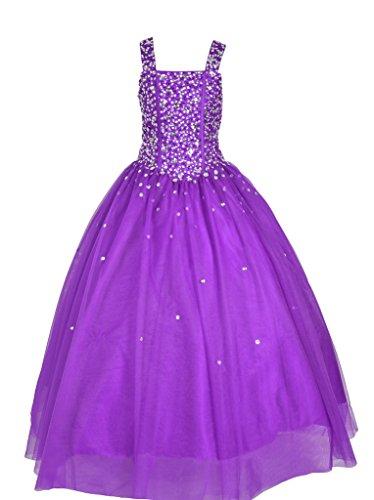 GreenBloom Glitz Crystals Pageant Dresses Flower Girls Purple 6