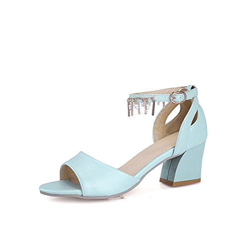 AmoonyFashion Womens Open-Toe Buckle Cow Leather Solid Kitten-Heels Sandals Blue mlWBzof