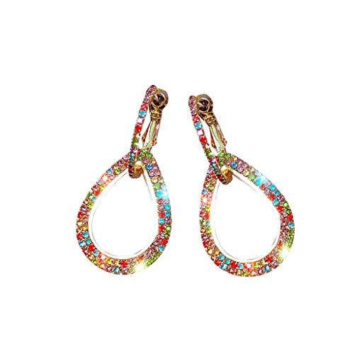 2019 New Earring Jackets Women Colored Rhinestones Drop Earrings Jewelry Gift Drop & Dangle(Gold)