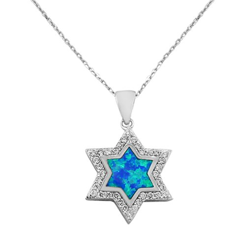 925 Sterling Silver White Clear CZ Simulated Blue Opal Jewish Star of David Pendant Necklace, 18