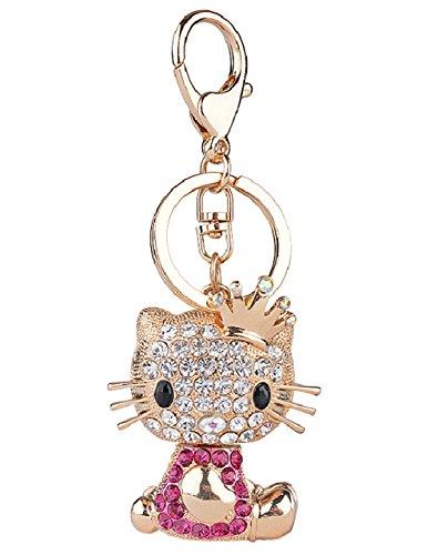 Aibearty Crown Cute Cat Keychain Fashionable Crysta Bag Pendant Rhinestone Bag Charm