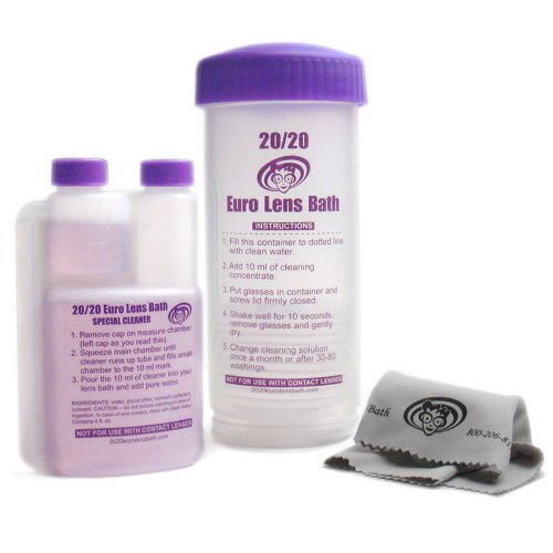2020 Euro Lens Bath - Unique Eyeglass Cleaner - Washer, 4 fl.oz Solution, & Microfiber Cleaning Cloth. One-of-a-kind Complete Starter Kit (Previously Known as Emerald City Eyeworks)