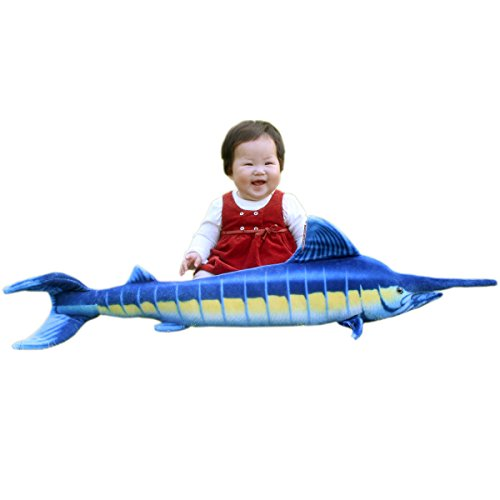 "JESONN Realistic Giant Stuffed Marine Animals Toys Soft Plush Blue Marlin,39.4"" or 100CM,1PC"