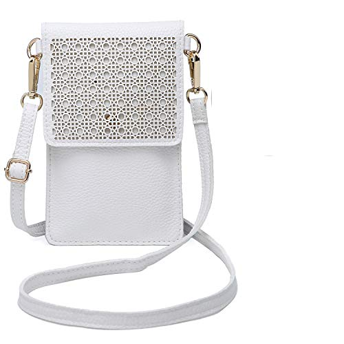 - seOSTO Small Crossbody Bag Cell Phone Purse Wallet with 2 Shoulder Strap Handbag for Women(White)