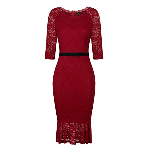 Temptme Womens Vintage Lace Half Sleeve Fixed Waist Belt Fit Cocktail Party Slim Mermaid Ruffles Bodycon Dress