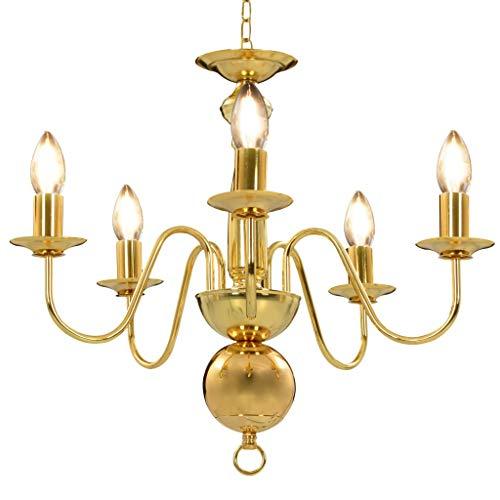 vidaXL Kroonluchter 5xE14 Goudkleurig Verlichting Plafondlamp Licht Lampen