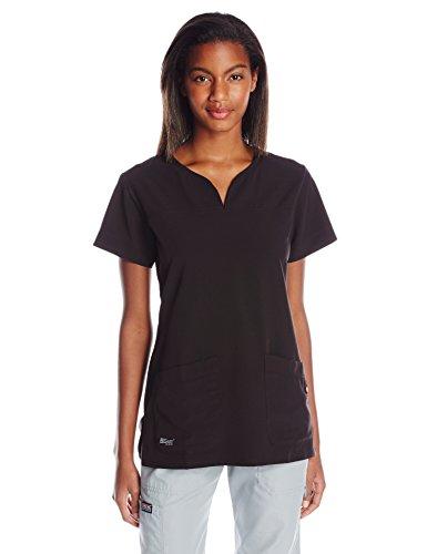 Grey's Anatomy Women's Signature Two Pocket Notch Yoke Neck Scrub Top, Black, - 2 Yoke
