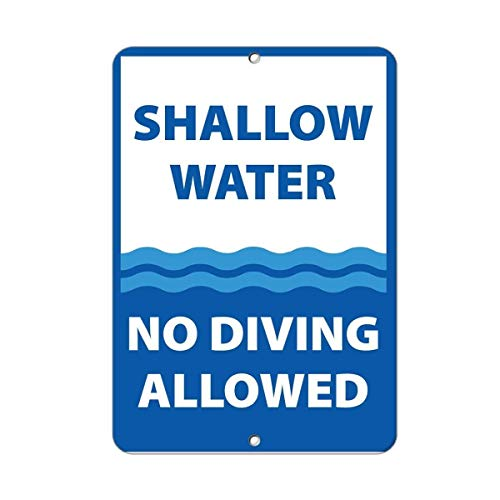 - BIN SHANG Metal Aluminum Sign Shallow Water No Diving Allowed Activity Sign Pool Signs Plaque for Yard Garage Driveway House Fence