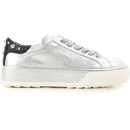 Hogan Sneakers Donna In Pelle Metallizzata Mod. Hogan Sneakers Kvinde Mod Metallisk Læder. Hxw3200ah10ivy1920 Grigia Grå Hxw3200ah10ivy1920 3Bjtc7