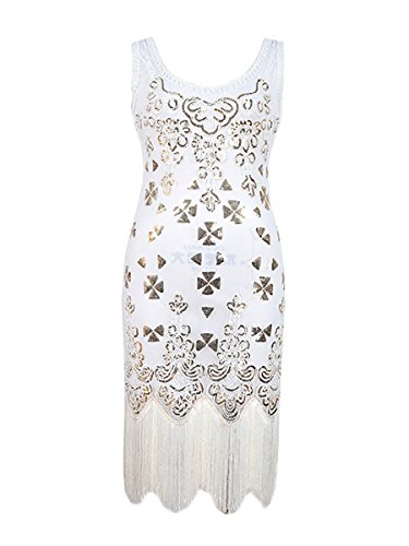 Samba Costumes For Sale (DanceQueen 1920's Women Sequin Tassel Latin Jazz Gatsby Evening Tango Competition Party Club Dancewear 1 Piece White S)