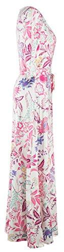 Long Allonly Neck Tie Women V 3 Waist 4 Maxi White Sleeve Dress Wrap Floral wUfZq