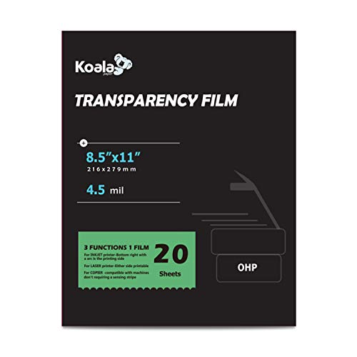 KOALA OHP Film Multi-Function Transparency Film 8.5 x 11 Inches Clear 20 Sheets for Inkjet Laser Printer and Copier