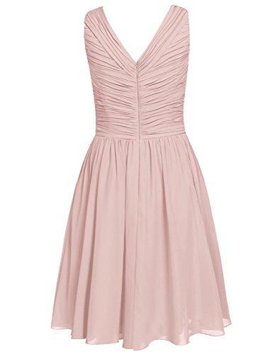 Short Womens Prom Knee V Bridesmaid Cdress Wedding Neck Oliva Chiffon Length Dresses f6qpx55wg