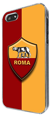 As Roma Logo Football Sport Design iphone 5 5S COOL FUN CASE BACK Cover-Clear Frame