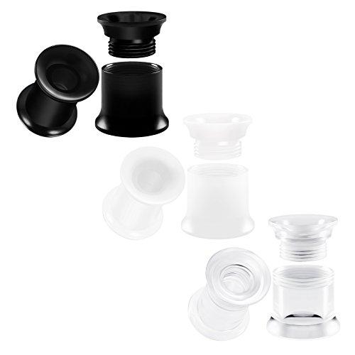 BIG GAUGES 3 Pairs Clear Acrylic 2g Gauge 6mm Black & White Double Flared Screw-fit Piercing Jewelry Ear Plugs Lobe Flesh Tunnel BG0752 ()