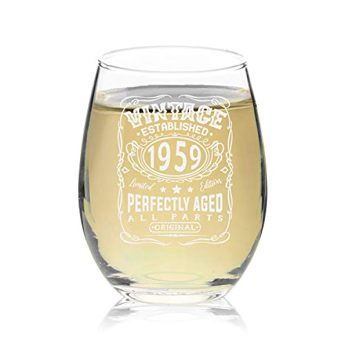 Veracco Vintage Established 1959 Perfectly Aged Wine Stemless Wine Glass 60th Birthday Gift For Him Her Sixty and Fabulous (1959, Stemless Glass)
