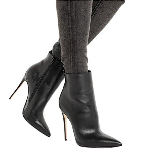 Zehen Stiefel Stiefeletten Schwarz Heels Thin Ankle Winter Schuhe Spitze Short EKS Damen Matt RqYawvv